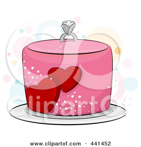 Royalty-Free (RF) Clip Art Illustration of a Pink Engagement Cake With Hearts And A Diamond Ring by BNP Design Studio