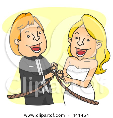 Royalty-Free (RF) Clip Art Illustration of a Happy Wedding Couple Tying The Knot, Over Yellow by BNP Design Studio