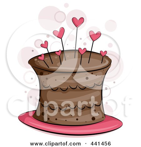 Royalty-Free (RF) Clip Art Illustration of a Chocolate Cake With Heart Pins by BNP Design Studio