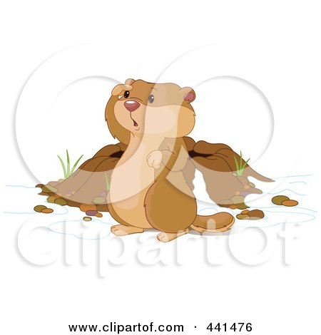 Royalty-Free (RF) Clip Art Illustration of a Cute Groundhog Looking Out By His Den by Pushkin