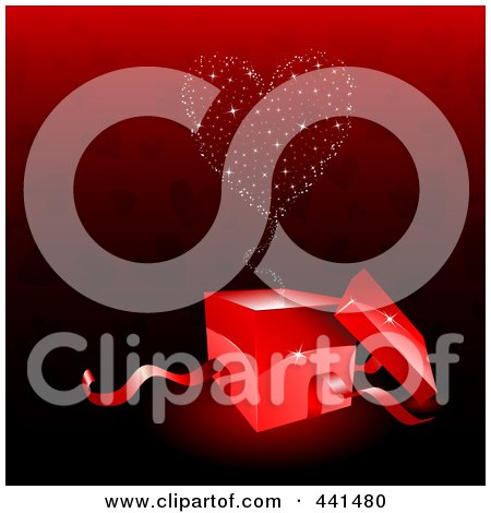 Royalty-Free (RF) Clip Art Illustration of a Sparkly Heart Emerging From A Red Gift Box Over A Red Heart Background by KJ Pargeter