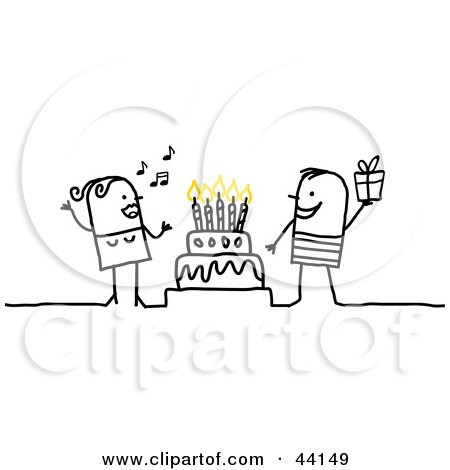 Clipart Illustration of a Stick Woman Singing And A Man Holding A Gift Around A Birthday Or Anniversary Cake by NL shop