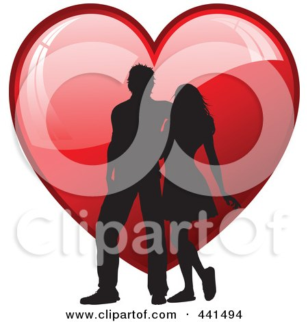 Royalty-Free (RF) Clip Art Illustration of a Silhouetted Couple Walking Over A Shiny Red Heart by KJ Pargeter
