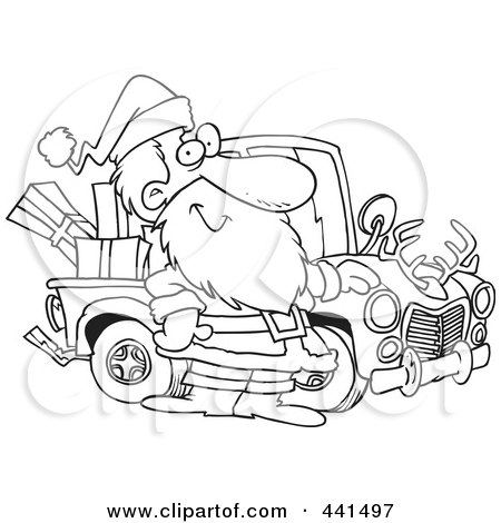 Cartoon Black And White Outline Design Of Santa Standing By His Redneck Truck Posters, Art Prints