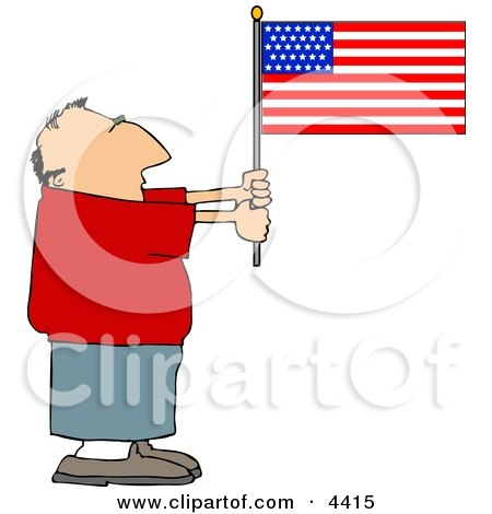Patriotic Man Holding an American Flag Clipart by djart