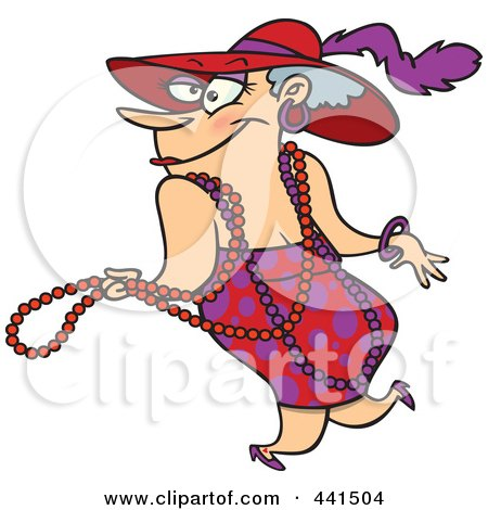 Royalty Free RF Clip Art Illustration Of A Cartoon Stylish Woman Wearing Beads And A Hat