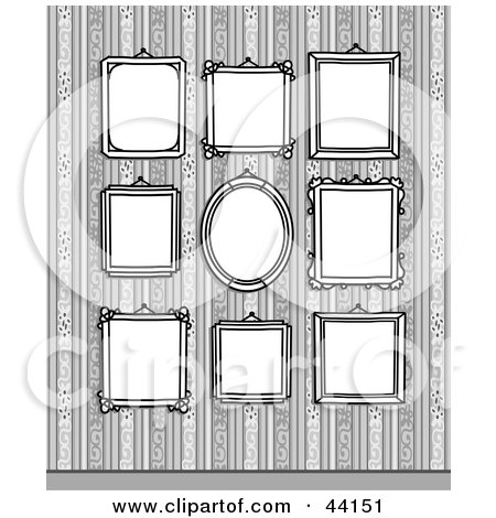 Clipart Illustration of Blank Framed Portraits In A Gallery, On A Wallpapered Wall by NL shop