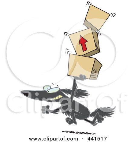Royalty-Free (RF) Clip Art Illustration of a Cartoon Retriever Dog Carrying Packages by toonaday