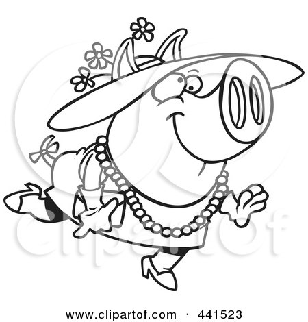 Royalty-Free (RF) Clip Art Illustration of a Cartoon Black And White Outline Design Of A Stylish Pig Wearing A Hat by toonaday