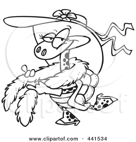 Royalty-Free (RF) Clip Art Illustration of a Cartoon Black And White Outline Design Of A Stylish Turtle Wearing A Hat by toonaday