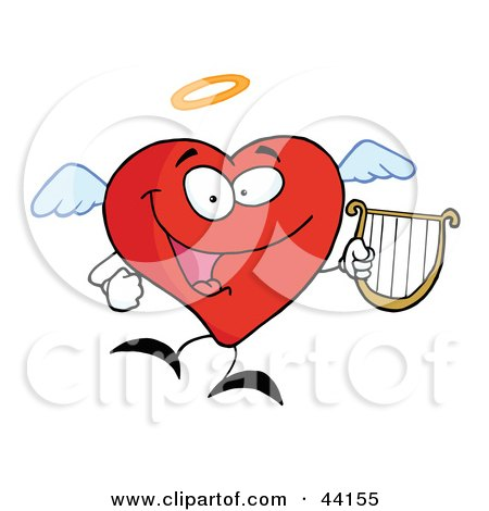 Clipart Illustration of a Red Heart Angel Character Flying With A Lyre by Hit Toon