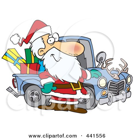 Royalty-Free (RF) Clip Art Illustration of a Cartoon Santa Standing By His Redneck Truck by toonaday
