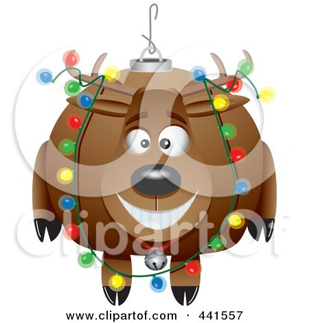 Royalty-Free (RF) Clip Art Illustration of a Cartoon Reindeer Christmas Bauble by toonaday