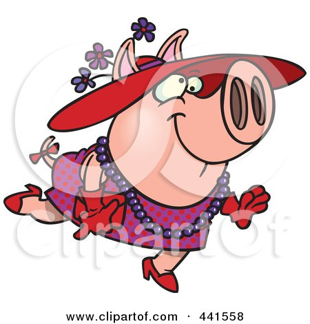 Royalty-Free (RF) Clip Art Illustration of a Cartoon Stylish Pig Wearing A Hat by toonaday