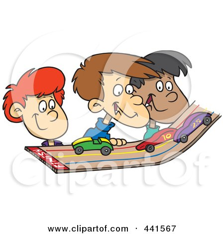 Royalty-Free (RF) Clip Art Illustration of a Cartoon Group Of Kids Playing With Toy Cars On A Track by toonaday