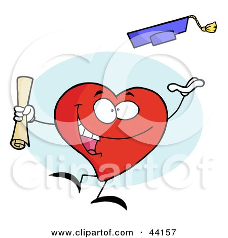 Clipart Illustration of a Celebrating Graduate Character Holding A Diploma And Tossing His Cap by Hit Toon