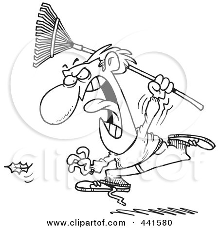 Royalty-Free (RF) Clip Art Illustration of a Cartoon Black And White Outline Design Of An Angry Man Chasing A Falling Leaf by toonaday