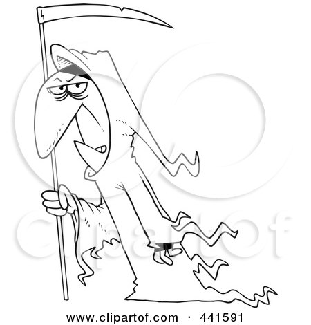 Royalty-Free (RF) Clip Art Illustration of a Cartoon Black And White Outline Design Of A Grim Reaper With A Scythe by toonaday