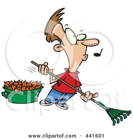 Royalty-Free (RF) Clip Art Illustration of a Cartoon Whistling Man Raking Leaves by toonaday