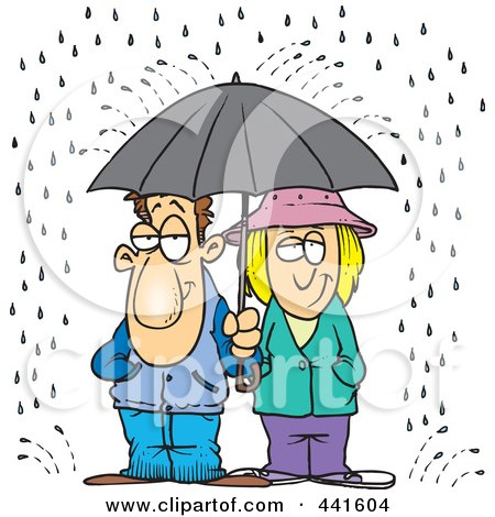 Royalty-Free (RF) Clip Art Illustration of a Cartoon Couple Sharing An Umbrella In The Rain by toonaday