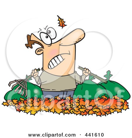 Royalty-Free (RF) Clip Art Illustration of a Cartoon Angry Man Watching Another Leaf Fall On His Pile by toonaday
