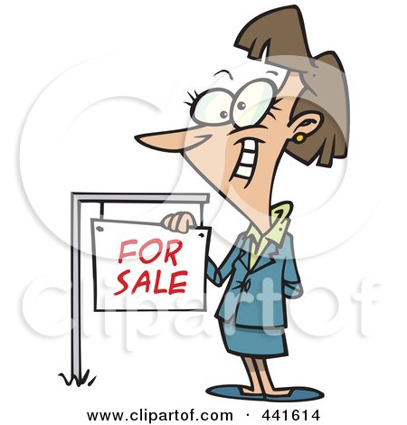Royalty-Free (RF) Clip Art Illustration of a Cartoon Female Realtor By A For Sale Sign by toonaday