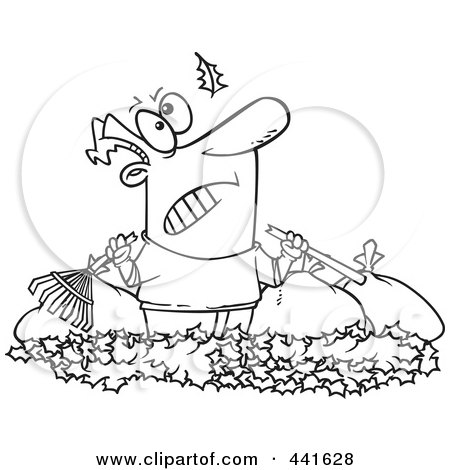 Royalty-Free (RF) Clip Art Illustration of a Cartoon Black And White Outline Design Of An Angry Man Watching Another Leaf Fall On His Pile by toonaday