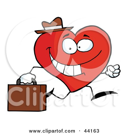 Clipart Illustration of a Happy Business Heart Character Wearing A Hat And Running To Work by Hit Toon