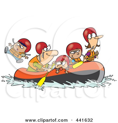 Royalty-Free (RF) Clip Art Illustration of a Cartoon Family Rafting by toonaday
