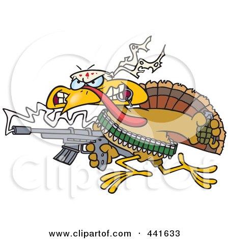 Royalty-Free (RF) Clip Art Illustration of a Cartoon Rambo Thanksgiving Turkey Bird by toonaday