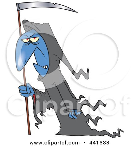 Royalty-Free (RF) Clip Art Illustration of a Cartoon Grim Reaper With A Scythe by toonaday