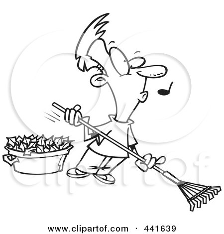 Royalty-Free (RF) Clip Art Illustration of a Cartoon Black And White Outline Design Of A Whistling Man Raking Leaves by toonaday