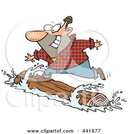 Royalty-Free (RF) Clip Art Illustration of a Cartoon Lumberjack Log Rolling by toonaday