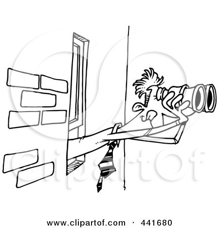 Royalty free spying illustrations by ron leishman page 1 for Window design cartoon