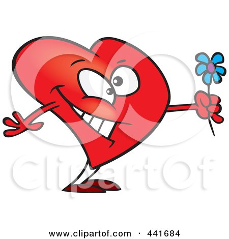 Royalty-Free (RF) Clip Art Illustration of a Cartoon Romantic Heart Holding Flowers by toonaday