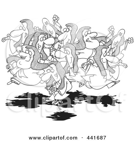 Royalty-Free (RF) Clip Art Illustration of a Cartoon Black And White Outline Design Of A Group Of Leaping Lords, One On A Pogo Stick by toonaday