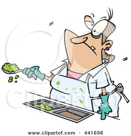 Royalty-Free (RF) Clip Art Illustration of a Cartoon Lunch Lady Serving Goop In A School Cafeteria by toonaday