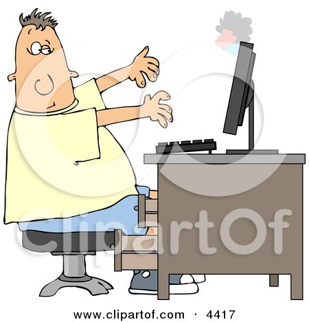 Man's Computer Monitor Blowing Up In His Face Clipart by djart
