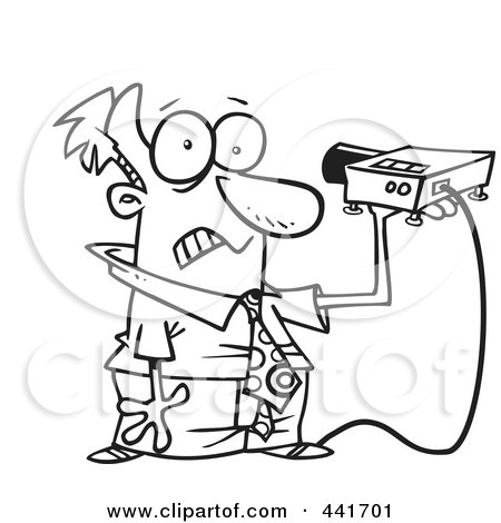 Royalty-Free (RF) Clip Art Illustration of a Cartoon Black And White Outline Design Of A Man Shining A Projector In His Face by toonaday