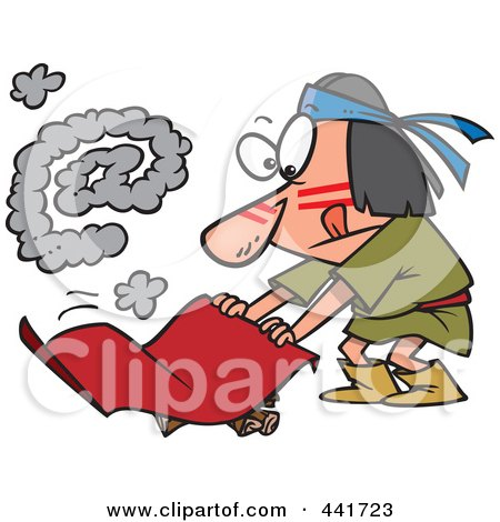 Royalty-Free (RF) Clip Art Illustration of a Cartoon Native American Man Fanning A Fire With An At Smoke Symbol by toonaday