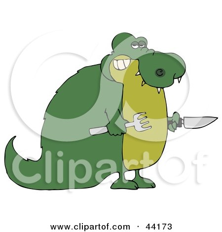 Clipart Illustration of a Hungry Green Gator Holding A Knife And Fork by djart
