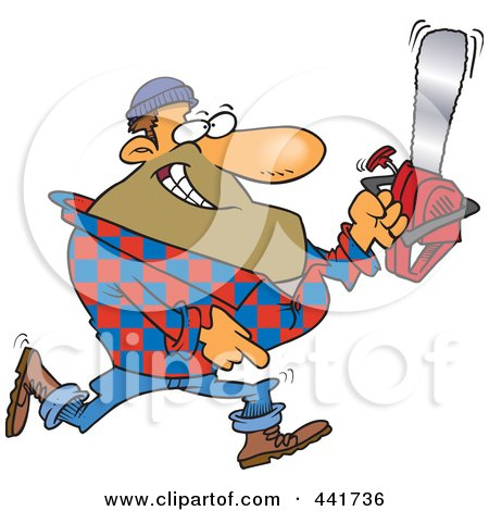 Royalty-Free (RF) Clip Art Illustration of a Cartoon Lumberjack Carrying A Saw by toonaday