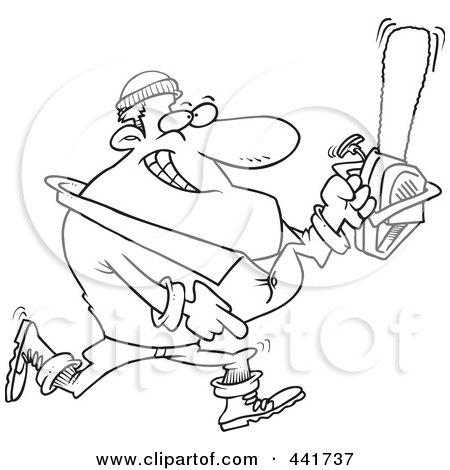 Royalty-Free (RF) Clip Art Illustration of a Cartoon Black And White Outline Design Of A Lumberjack Carrying A Saw by toonaday