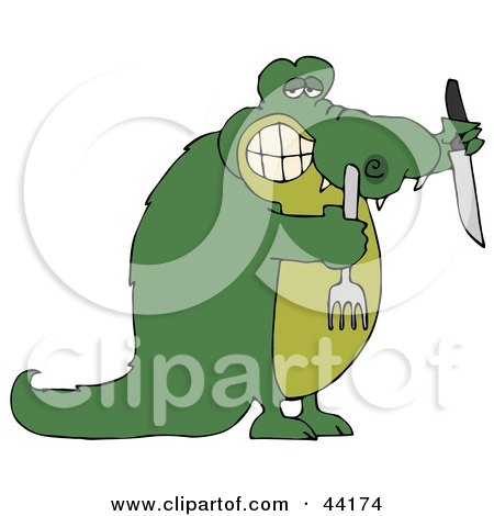 Clipart Illustration of a Hungry Green Croc Holding A Knife And Fork by djart