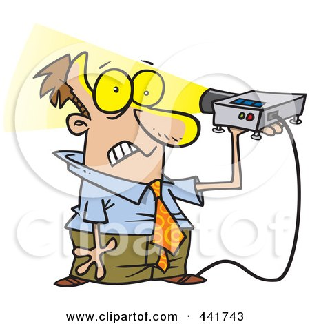 Royalty-Free (RF) Clip Art Illustration of a Cartoon Man Shining A Projector In His Face by toonaday