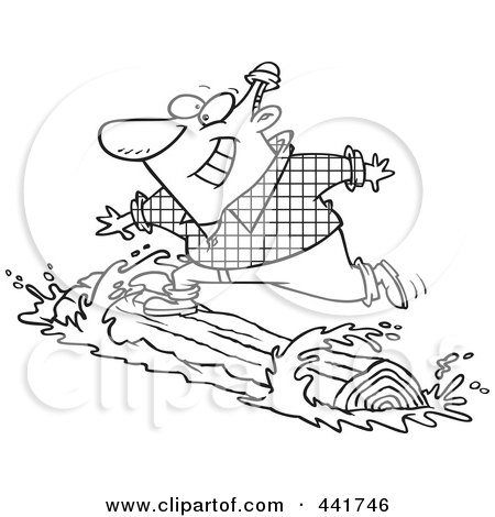 Royalty-Free (RF) Clip Art Illustration of a Cartoon Black And White Outline Design Of A Lumberjack Log Rolling by toonaday