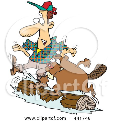 Royalty-Free (RF) Clip Art Illustration of a Cartoon Lumberjack And Beaver Log Rolling by toonaday
