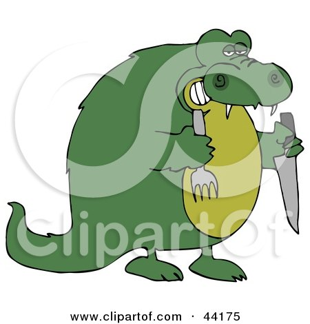 Clipart Illustration of a Hungry Green Crocodile Holding A Knife And Fork by djart