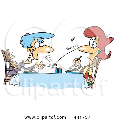 Royalty-Free (RF) Clip Art Illustration of a Cartoon Old Woman Flicking A Pea At Her Daughter by toonaday