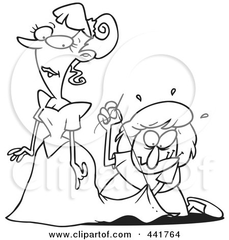 Royalty-Free (RF) Clip Art Illustration of a Cartoon Black And White Outline Design Of A Seamstress Tailoring A Bride's Dress At The Last Minute by toonaday
